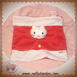 MUSTI BENGY SOS DOUDOU CHAT OURS BLANC PLAT ROUGE