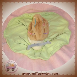 NATURE ET & DECOUVERTES SOS DOUDOU ESCARGOT MARRON MOUCHOIR VERT