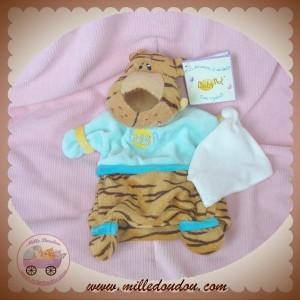 BABYNAT BABY NAT SOS DOUDOU LEOPARD MARIONNETTE MARRON MOUCHOIR LIEN