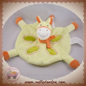 KIMBALOO DOUDOU CHEVAL PLAT ROND VERT ORANGE SOS