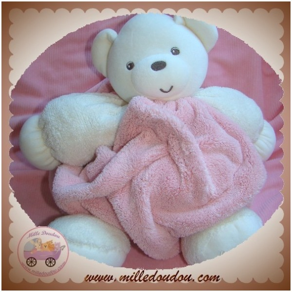 Kaloo sos doudou ours blanc boule plume rose - Plume l ours polaire ...