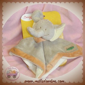 BENGY SOS DOUDOU ELEPHANT BEIGE PLAT ECRU ORANGE JUNGLE