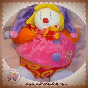 MOULIN ROTY DOUDOU CLOWN GINO BOULE ORANGE ROSE SOS