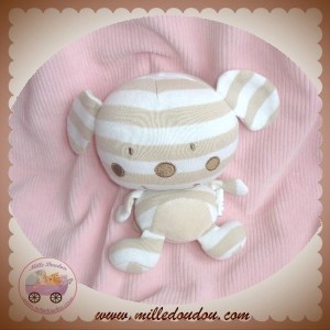 AUCHAN SOS DOUDOU CHIEN OURS REMBOURRE RAYE BLANC BEIGE
