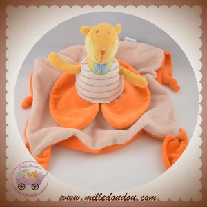 TOYS'LAND DOUDOU ANIMAL  JAUNE SUR CARRE PLAT ORANGE