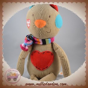 EBULOBO SOS DOUDOU CHAT OURS MARRON COEUR ROUGE
