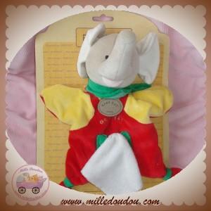 BABYNAT BABY NAT SOS DOUDOU ELEPHANT MARIONNETTE ROUGE JAUNE MOUCHOIR 9