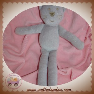 BOUT'CHOU MONOPRIX SOS DOUDOU CHAT OURS GRIS TAUPE A POIS VELOURS