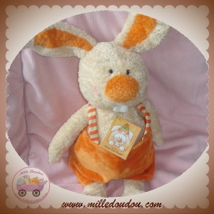 ANNA CLUB PLUSH DOUDOU LAPIN LUCAS ECRU SALOPETTE ORANGE