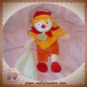 DOUDOU ET COMPAGNIE CLOWN ORANGE JAUNE SOL DO MOUCHOIR SOS