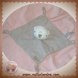 ORCHESTRA DOUDOU OURS PLAT RAYE BEIGE SOS