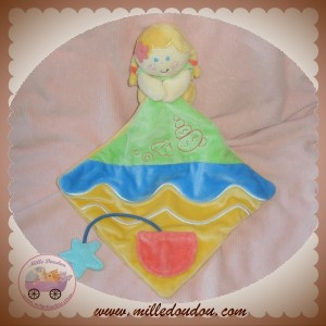 BABY LUNA DOUDOU FILLE SIRENE JAUNE ORANGE MOUCHOIR SOS