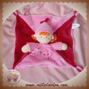 VETIR DOUDOU POUPEE FILLE ROSE PLATE CHEVEUX ORANGE SOS