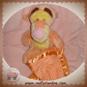 DISNEY NICOTOY DOUDOU TIGROU ORANGE MOUCHOIR VICHY SOS