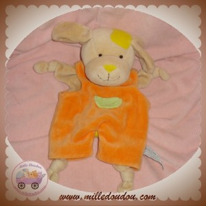 ANNA CLUB PLUSH DOUDOU CHIEN BEIGE PLAT SALOPETTE ORANGE SOS