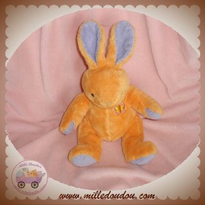 ANNA CLUB PLUSH DOUDOU LAPIN ORANGE MAUVE PAPILLON SOS