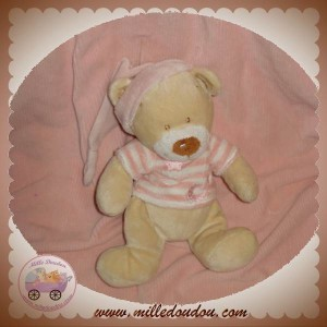 BABY CLUB C&A DOUDOU OURS ECRU PULL RAYE ROSE ETOILE LUNE SOS