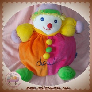 DOUDI DOUDOU CLOWN GARCON ORANGE ROSE 30 cm SOS