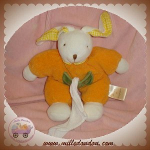 BABYNAT DOUDOU LAPIN ORANGE MOUCHOIR BLANC SOS