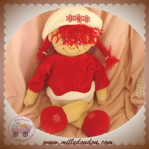 ANNA CLUB PLUSH DOUDOU POUPEE HABIT ROUGE 40 CM SOS