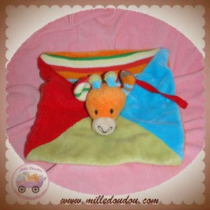 HAPPY HORSE DOUDOU GIRAFE PLATE VERT BLEU LAINE SOS