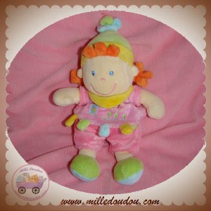 NICOTOY DOUDOU FILLE HABIT ROSE ARBRE CHEVEUX ORANGE SOS