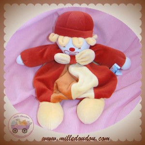 SUCRE D'ORGE DOUDOU CLOWN QUASI PLAT ROUGE ORANGE SOS