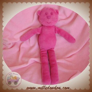 BOUT'CHOU MONOPRIX DOUDOU CHAT OURS ROSE VELOURS SOS