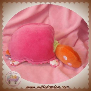 SUCRE D'ORGE DOUDOU TORTUE ORANGE CARAPACE ROSE FLEUR MUSICAL SOS