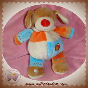 LASCAR SOS DOUDOU CHIEN MARRON BOULE ECRU ORANGE BLEU BALLON