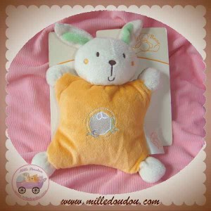 KING BEAR DOUDOU LAPIN QUASI PLAT ORANGE ABC SOS