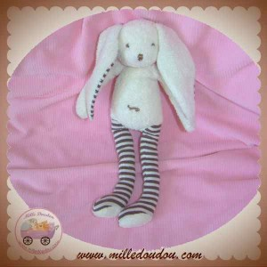 SERGENT MAJOR SOS DOUDOU LAPIN BLANC JAMBES RAYEES MARRON