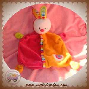 BABY CLUB C&A DOUDOU LAPIN PLAT ROSE ORANGE ROND SOS