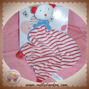 MGM DOUDOU OURS PLAT RAYE ROUGE BLEU SOS