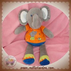 NICOTOY SOS DOUDOU ELEPHANT GRIS BLEU ORANGE KIABI