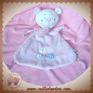 MGM DOUDOU OURS BLANC PLAT ROSE ECHARPE DODO D'AMOUR SOS