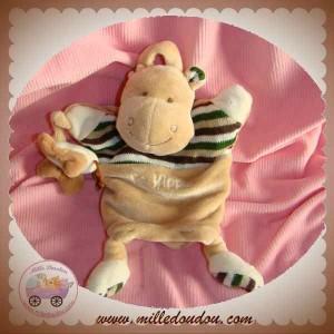BABYNAT BABY NAT DOUDOU HIPPOPOTAME MARIONNETTE BEIGE PAPILLON SOS