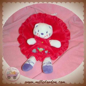 NICOTOY DOUDOU CHAT OURS BLANC PLAT ROBE ROUGE OISEAU SOS