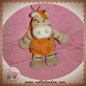 NOUKIE'S DOUDOU GIRAFE ZEBRE MINI MUSICAL BEIGE ORANGE ZAMBA SOS