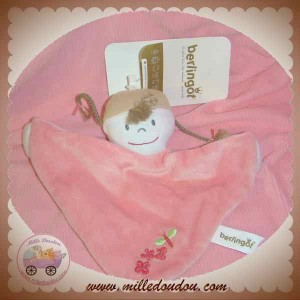 BERLINGOT DOUDOU FILLE POUPEE PLATE ROSE MOUCHOIR SOS