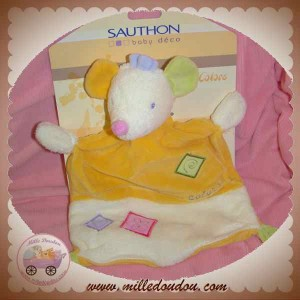 SAUTHON SOS DOUDOU  SOURIS ECRU PLAT ORANGE COLORS