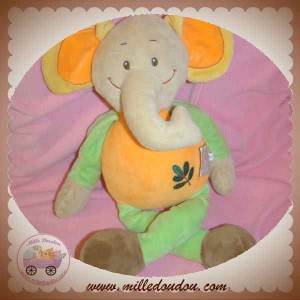 DOU KIDOU DOUDOU ELEPHANT BEIGE ORANGE VERT SOS