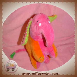 ANNA CLUB PLUSH DOUDOU ELEPHANT ORANGE ROSE WHEATIES SOS