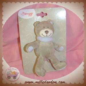 BENGY DOUDOU OURS GRIS TAUPE ROBIN 14 CM SOS