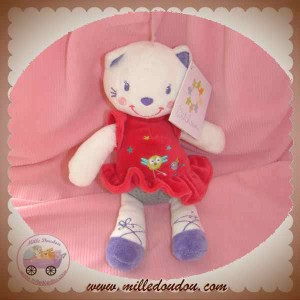 NICOTOY DOUDOU CHAT OURS BLANC ROBE ROUGE OISEAU SOS