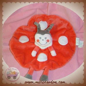 KIMBALOO DOUDOU POUPEE FILLE COCCINELLE ROUGE PLAT ROND BLANC SOS