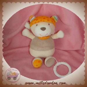 BABY CLUB DOUDOU OURS BEIGE ORANGE MUSICAL SOS