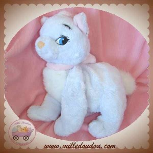 DISNEY DOUDOU CHAT MARIE ARISTOCHAT BLANC COLLIER ROSE SOS