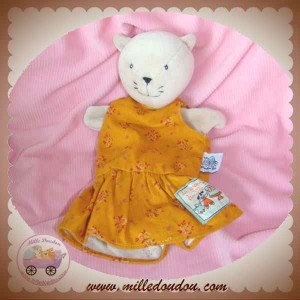 MOULIN ROTY SOS DOUDOU CHAT CHATTE AGATHE MARIONNETTE AVEC ROBE ORANGE