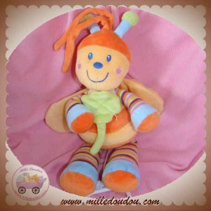MOTS D'ENFANTS DOUDOU ABEILLE PAPILLON MUSICAL ORANGE JAUNE RAYEE SOS